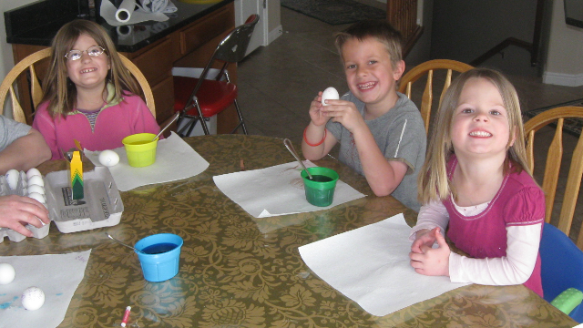 Dyeing Easter eggs never gets old...