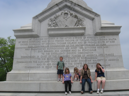 Kids at the Yorktown Victory Monument