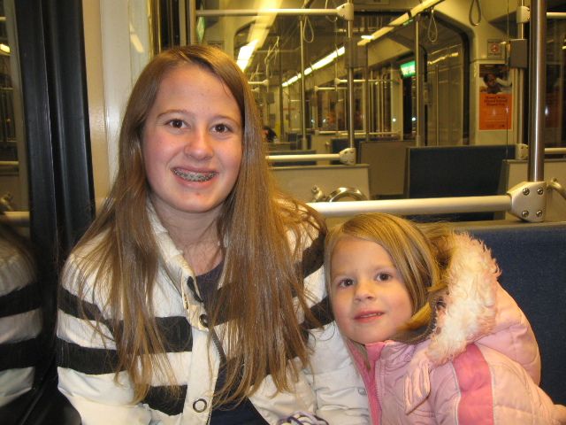 Annie and Luppin on the train