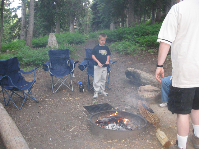 The campfire was irresistible for Sam