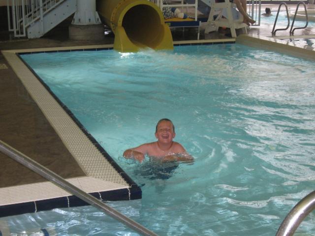 Sam loved the water slide