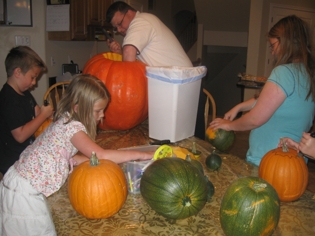 Carving the pumpkins