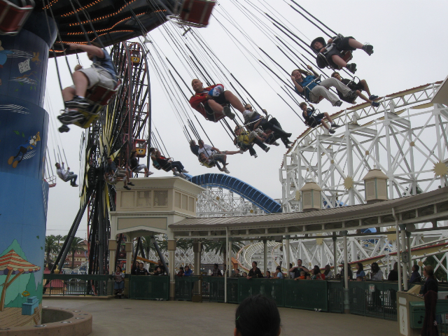 Riding the carnival rides.