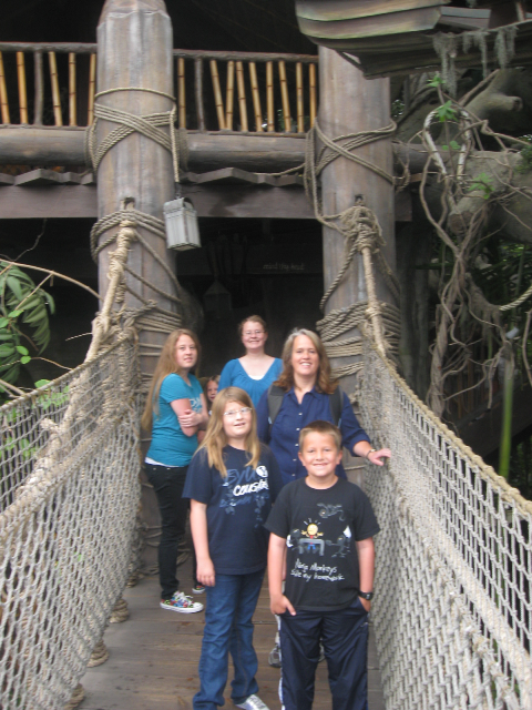 Enjoying the Swiss Family Robinson tree house (yeah, I know it's been changed - it will always be Swiss Family Robinson to me)