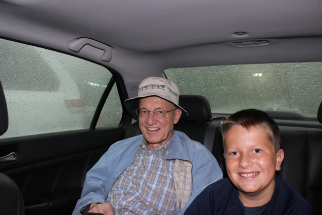 Waiting out the storm in the car with Grandpa