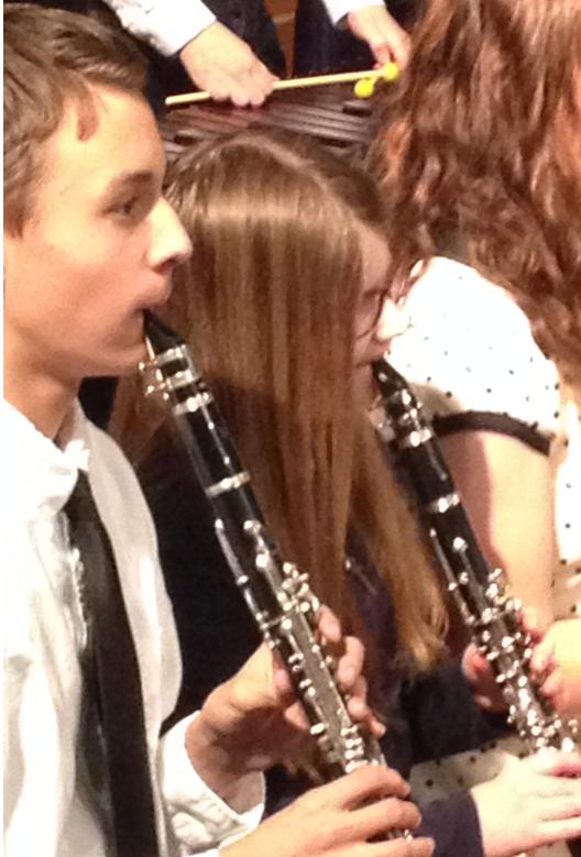 Caroline playing her clarinet